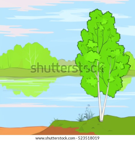 Summer Landscape, Trees, River, Flower and Blue Sky with White Clouds, Low Poly. Vector