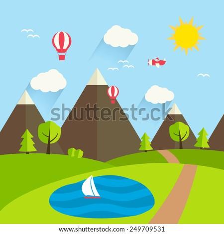 Summer landscape, vector illustration.  Mountains, hills, road, trees, sky, sun, clouds, green grass, air balloons  - stock vector