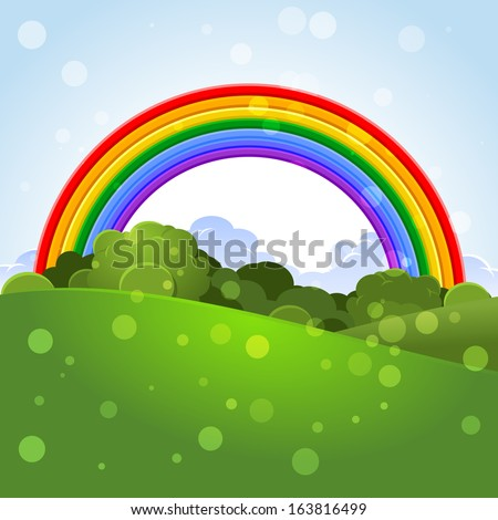 Summer landscape with a rainbow - stock vector