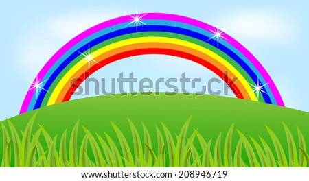 summer landscape with a rainbow and green grass,vector illustration