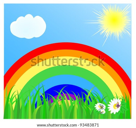 Summer landscape with a rainbow, the blue sky, the sun, cloud and a green grass. vector illustration