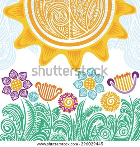 Summer landscape with beautiful sun vector illustration - stock vector