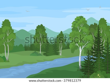 Summer Landscape with Birches, Fir Trees and Flowers, River and Sky with Birds. Vector - stock vector