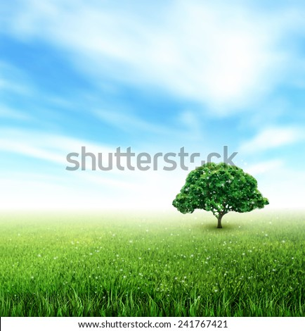Summer Landscape With Field, Sky, Tree, Grass, Flowers - stock vector