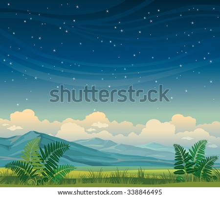 Summer landscape with green grass, fern and mountains on a night starry sky.  - stock vector