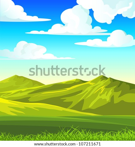 Summer landscape with green meadow and grass on a blue cloudy sky