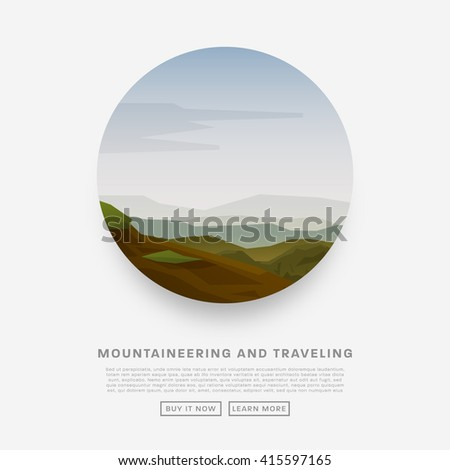 Summer landscape with hills covered with grass and flowers. Outdoor Recreation, Camping Concept. Blue Sky with Clouds. - stock vector