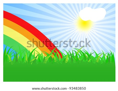 Summer landscape with rainbow. Vector illustration.