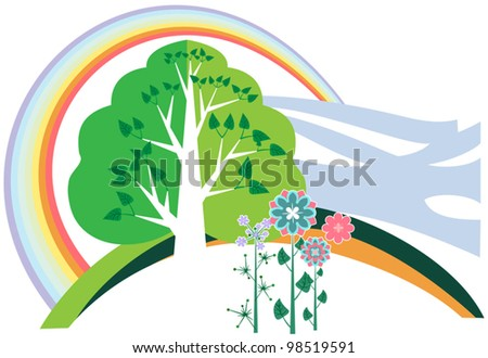 Summer Landscape with Rainbow, wood and bright colors - stock vector