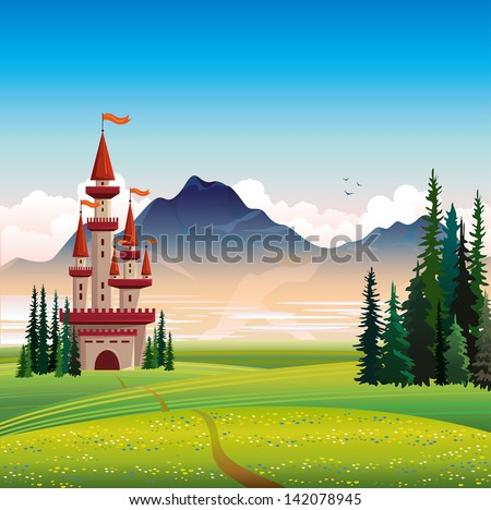 Summer landscape with red castle, green field, spruce and mountain on a blue sky background - stock vector
