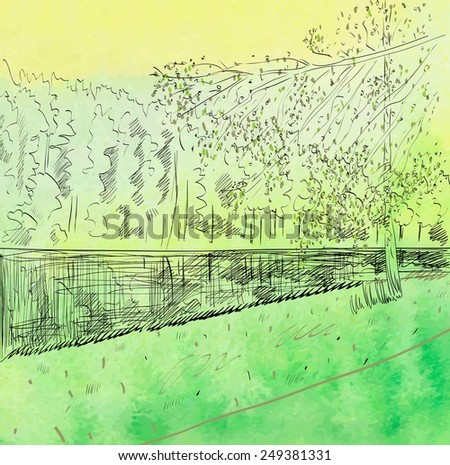 Summer landscape with river. Watercolor vector illustration. - stock vector