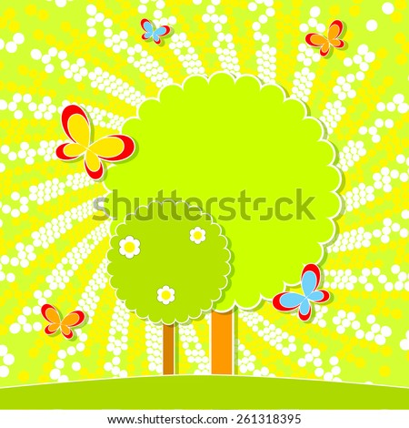 Summer landscape with trees and butterflies. Flat design. Place for your text