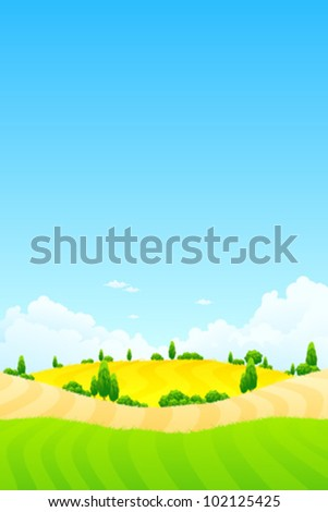 Summer Landscape with trees clouds and sky