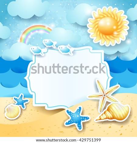 Summer landscape with vintage blank label. Vector illustration  - stock vector