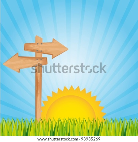 summer landscape with wooden sign. vector illustration - stock vector