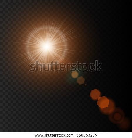 Summer lens flare, sun lens flare with realistic light, lens flare lights and lens flare glow on black background, lens flare icon, lens flare star, lens flares. Vector illustration lens flare eps10 - stock vector