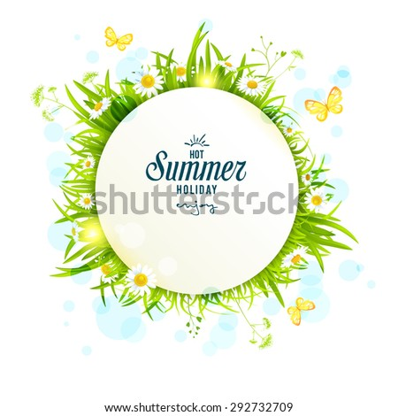 Summer light round frame with daisies. Copy space. - stock vector