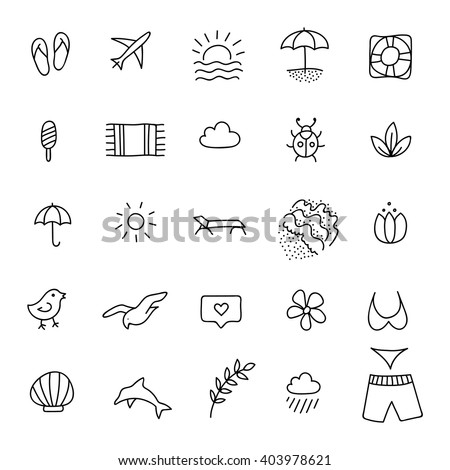 Summer line icon set. Hand drawn design element. Beach vector line icon, hand drawn line icons set. Black and white beach vector line icon collection. Summer line icon set. Hand drawn design element - stock vector