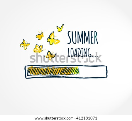 Summer loading. Summer begins. Hello summer concept. Hello summer card. Progress bar design. Creative vector illustration.  - stock vector