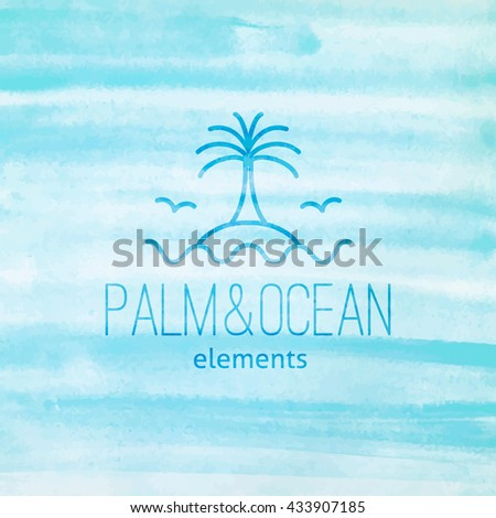 summer logo for travel agency or hotel. Palm, seagulls, island and waves on watercolor background - stock vector