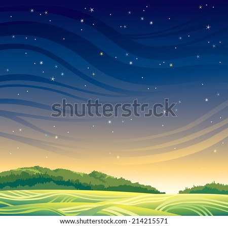 Summer magic landscape with sunset and stars. Nature vector. - stock vector
