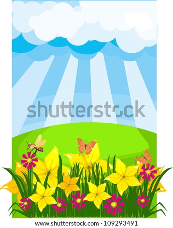 Summer meadow on a sunny day with a variety of flowers and insects, bees and butterflies - stock vector