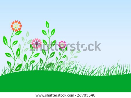 Summer meadow with flowers - stock vector