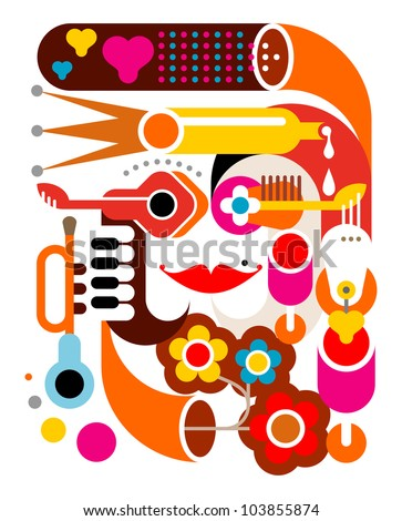 Summer Music - abstract vector illustration on white. Graphic art.
