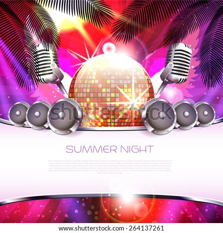 Summer music background with disco ball, speakers and palm tree - Vector with place for your text - stock vector