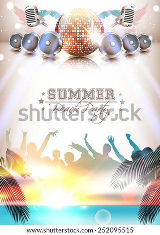 Summer music poster with instruments, silhouettes and beach - Vector with place for your text - stock vector