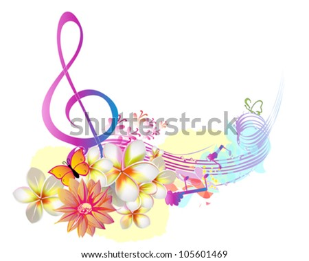 Summer music with flowers and butterfly - stock vector