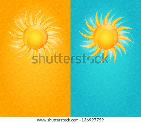 Summer Natural Card Set with Yellow Sun and Flare. Vector Shiny Illustration - stock vector