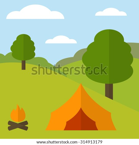 Summer nature landscape with campfire, orange tent and trees. Flat style. Concept design for active travel and outdoor recreation.  - stock vector