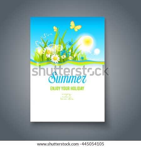 Summer nice motif. Bright summer blank with flowers and butterflies. Nature template for design banner,ticket, leaflet, card, poster and so on. - stock vector