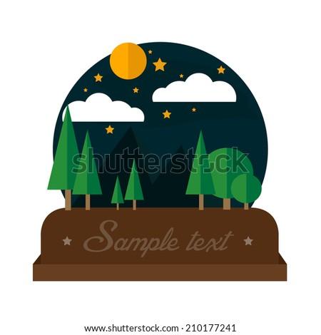 Summer night camping landscape - stock vector