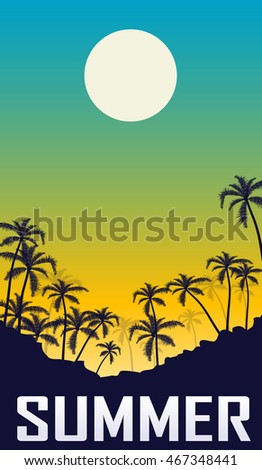 Summer night landscape with palm silhouette. Vacation design poster.