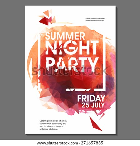 Summer Night Party Vector Flyer Template - EPS10 Design. Polygonal graphic. Watercolor spot. - stock vector