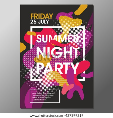 Summer Night Party Vector Flyer Template.Vector Party Poster. Abstract Poster.