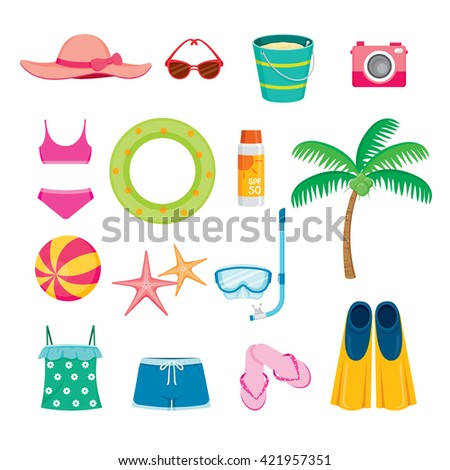 Summer Objects Icons Set, Equipment, Tool, Beach, Swimming, Sea, Vacations, Holiday, Lifestyle - stock vector