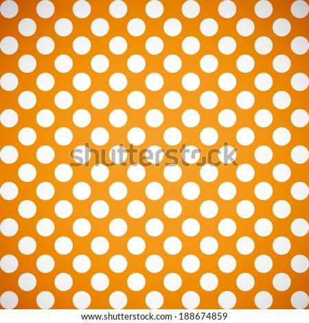 summer orange and white polka dot pattern background (vector) - stock vector
