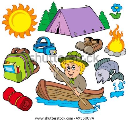 Summer outdoor collection - vector illustration. - stock vector