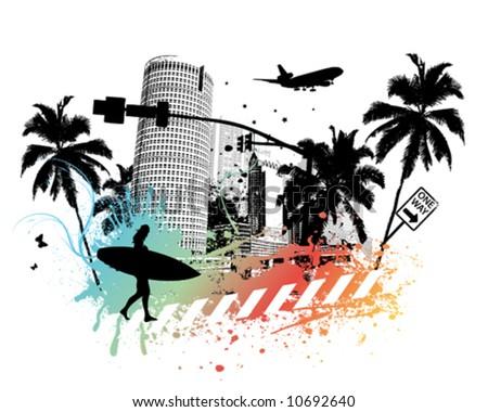 Summer Palm City - stock vector