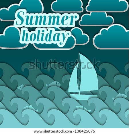 Summer paper background. Vector illustration. - stock vector