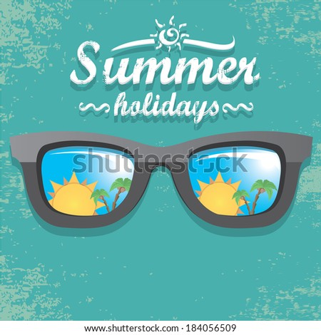 summer paradise beach background with sunglasses . vector cut paper summer illustration. summer holiday. - stock vector