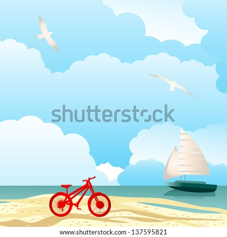 summer paradise bicycle and sailboat - stock vector