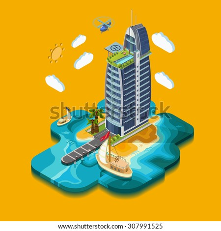 Summer Paradise Island, part of the land hotel and surrounding landscape and buildings, palm trees, sea, ocean the yacht. Vector isometric 3D concept. - stock vector