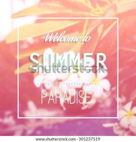 Summer, paradise, vector fashion design floral print with tropical flowers, jungle background, poster - stock vector