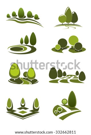 Summer park and public garden landscape icons set with decorative green trees and bushes, figured lawns and walking alleys, for nature or leisure theme - stock vector