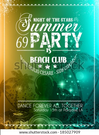 Summer Party Flyer for Music Club events for latin dance. - stock vector
