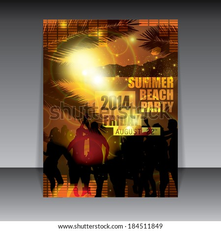 Summer party flyer warm sunset background  - stock vector